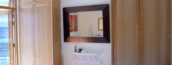 oak veneered alcove cupboards